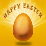 Ejemplo de Pascua con brillar intensamente flotante del huevo y la firma festiva Fotografía de archivo libre de regalías