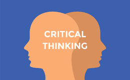 Ejemplo de pensamiento crítico del concepto con la silueta principal y texto sobre él Fotos de archivo