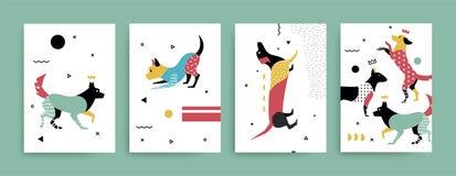 Ejemplo de perros en el estilo de Memphis ilustración del vector