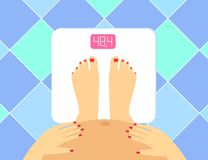 Ejemplo de piernas y de la panza femeninas embarazadas en las escalas del piso Vigilante del peso del vector Mujer embarazada el  Imagen de archivo libre de regalías