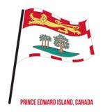 Ejemplo de príncipe Edward Island Flag Waving Vector en el fondo blanco Las provincias señalan por medio de una bandera de Canadá libre illustration