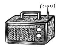 ejemplo de radio retro del streo del estilo del zentangle, dibujo de la mano Foto de archivo
