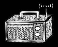 ejemplo de radio retro del streo del estilo del zentangle, dibujo de la mano Imagen de archivo libre de regalías