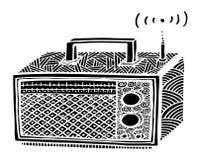 ejemplo de radio retro del streo del estilo del zentangle, dibujo de la mano Foto de archivo libre de regalías