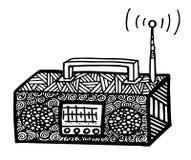ejemplo de radio retro del streo del estilo del zentangle, dibujo de la mano Imágenes de archivo libres de regalías
