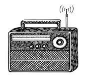ejemplo de radio retro del streo del estilo del zentangle, dibujo de la mano Fotos de archivo libres de regalías