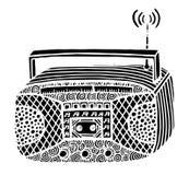ejemplo de radio retro del vector del streo del estilo del zentangle Foto de archivo