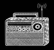 ejemplo de radio retro del vector del streo del estilo del zentangle, dibujo de la mano Imagen de archivo