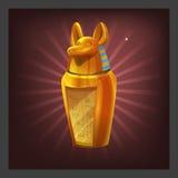 Ejemplo de recibir la estatuilla de oro de Anubis del egipcio del logro de la historieta para la pantalla del juego libre illustration
