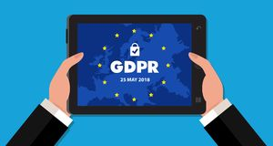 Ejemplo de regla del concepto de la protección de datos general GDPR - 25 de mayo de 2018 Fotografía de archivo libre de regalías