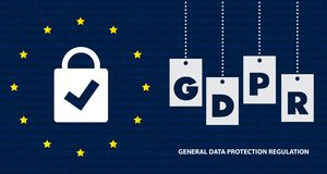 Ejemplo de regla del concepto de la protección de datos general GDPR - 25 de mayo de 2018 Foto de archivo libre de regalías