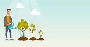 Ejemplo de riego del vector de los árboles de la mujer de negocios Imagen de archivo libre de regalías