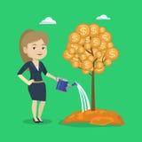 Ejemplo de riego del vector del árbol del dinero de la mujer Imagen de archivo