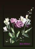 Ejemplo de rosas Tarjeta de felicitación Imágenes de archivo libres de regalías