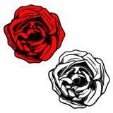 Ejemplo de Rose en estilo del tatuaje Diseñe el elemento para el logotipo, etiqueta, emblema, muestra, bandera, cartel ilustración del vector