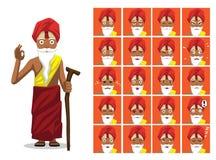 Ejemplo de Sadhu Cartoon Emotion Faces Vector del Hinduismo de la religión Imagen de archivo