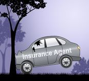 Ejemplo de Showing Car Policy 3d del agente de seguro auto stock de ilustración