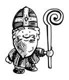 Ejemplo de Sint del holandés - dibujo blanco y negro de la tinta ilustración del vector