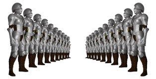 Ejemplo de Standing In Line del caballero de los soldados Fotos de archivo libres de regalías