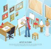 Ejemplo de In Studio Isometric del artista libre illustration