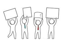 Ejemplo de Team Males Holding Papers Vector stock de ilustración