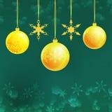 Ejemplo de tres bolas de la decoración de la Navidad Fotos de archivo libres de regalías