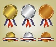 Ejemplo de tres medallas Imágenes de archivo libres de regalías