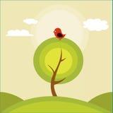 Ejemplo de un árbol y de un pájaro ilustración del vector