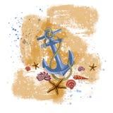 Ejemplo de un ancla de mar del mar con una cuerda y muchas conchas marinas Muestra, objeto, esquina, clipart, marco para la invit stock de ilustración