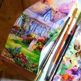 Ejemplo de un artista que pinta una imagen stock de ilustración