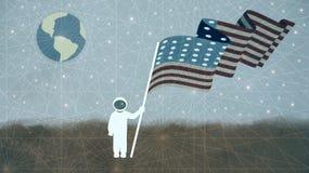 Ejemplo de un astronauta Holding Usa Flag ilustración del vector