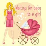 Ejemplo de un bebé que espera de la mujer embarazada Foto de archivo libre de regalías