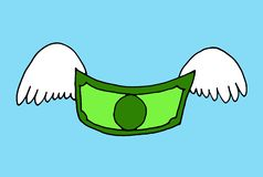 Ejemplo de un billete de banco con las alas de vuelo stock de ilustración