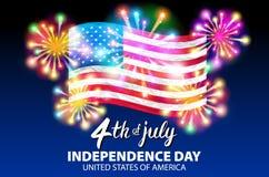 Ejemplo de un cartel de celebración del vector del Día de la Independencia 4to de las letras de julio Bandera roja americana en f Fotografía de archivo