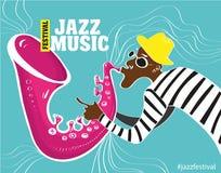 Ejemplo de un cartel del jazz con el saxofonista Fotografía de archivo