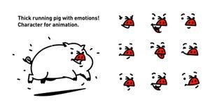 Ejemplo de un cerdo de la historieta Vector estilo plano del esquema Para los peritos verdaderos de la animación Funcionamiento g ilustración del vector