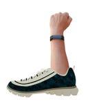 Ejemplo de un concepto de la aptitud con un brazo que sale de un zapato Foto de archivo
