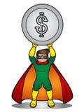 Ejemplo de un control del super héroe una moneda del dólar fotos de archivo libres de regalías