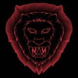 Ejemplo de un demonio principal del le?n espeluznante con los colmillos rojos y agudos brillantes libre illustration