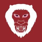 Ejemplo de un demonio principal del le?n espeluznante con los colmillos rojos y agudos brillantes ilustración del vector