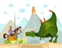 Dragón y caballero ilustración del vector