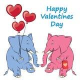 Ejemplo de un elefante rosado alegre con los globos en las FO libre illustration