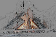 Ejemplo de un ejemplo encendido estilizado de la chimenea 3d imagen de archivo