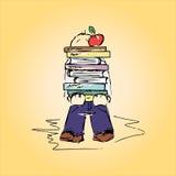 Ejemplo de un estudiante con los libros, mano-dibujo Foto de archivo