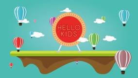 Ejemplo de un festival del balón de aire con los juegos del ` s de los niños stock de ilustración
