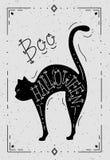 Ejemplo de un gato con la palabra Halloween Fotografía de archivo