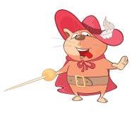 Ejemplo de un gato lindo Musketeer de rey Personaje de dibujos animados ilustración del vector