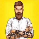 ejemplo de un hombre barbudo brutal, machista del arte pop con el tatuaje stock de ilustración
