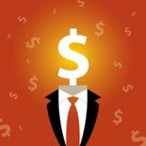 Ejemplo de un hombre con una muestra de dólar en vez de una cabeza Imagen de archivo libre de regalías