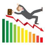 Ejemplo de un hombre de negocios Slipping Down una flecha de la estadística Imagen de archivo